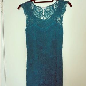 Intimately by Free People teal crochet dress